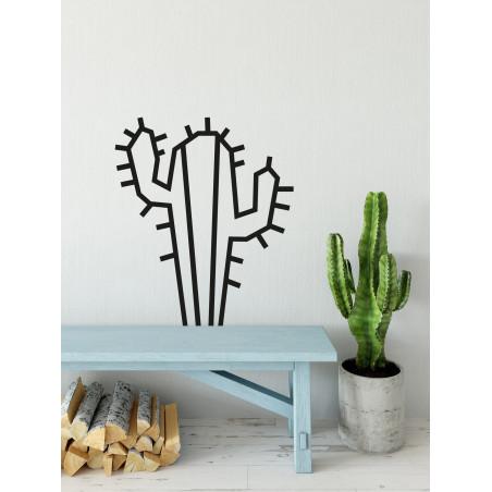 Deco DIY murale en masking tape cactus noir maison salon