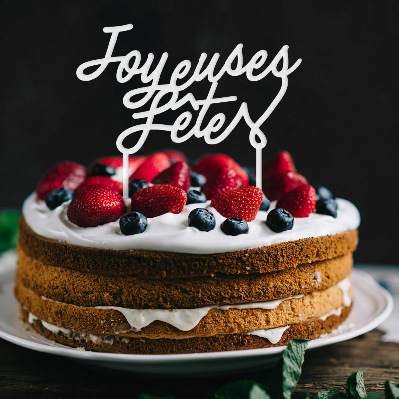 Déco gâteau cake topper Joyeuses fêtes plexi blanc