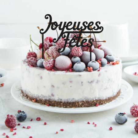 Déco pour gâteau cake topper Joyeuses fêtes noir