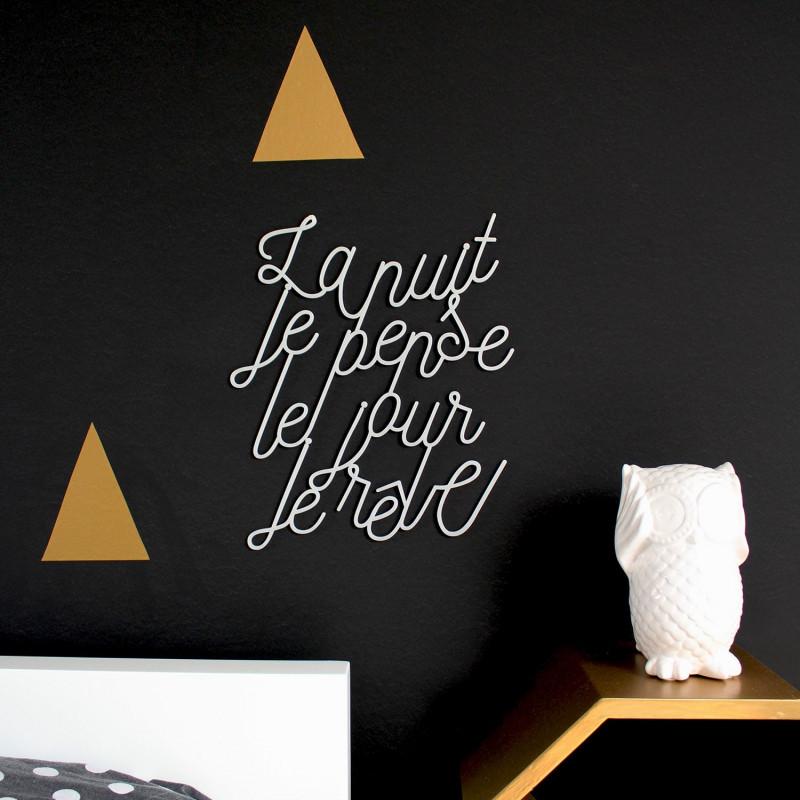 Déco mur lettrage poétique la nuit je pense je jour je rêve plexiglas blanc