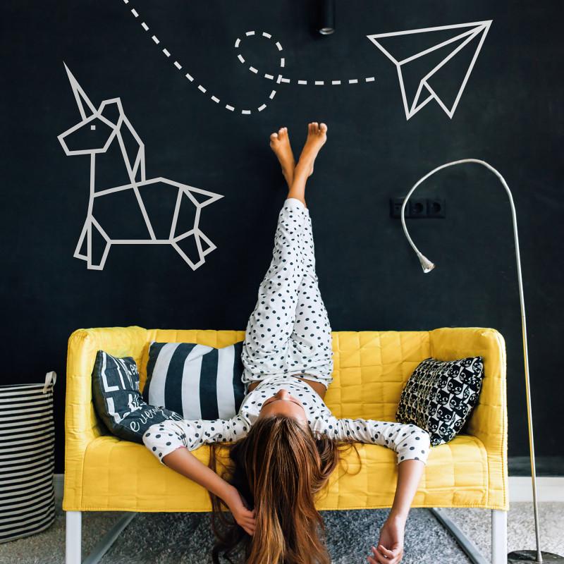 décoration murale chambre enfant licorne argenté