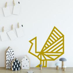 deco murale paon masking tape doré
