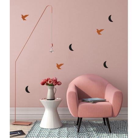 Déco mur chambre stickers lune noir et oiseau