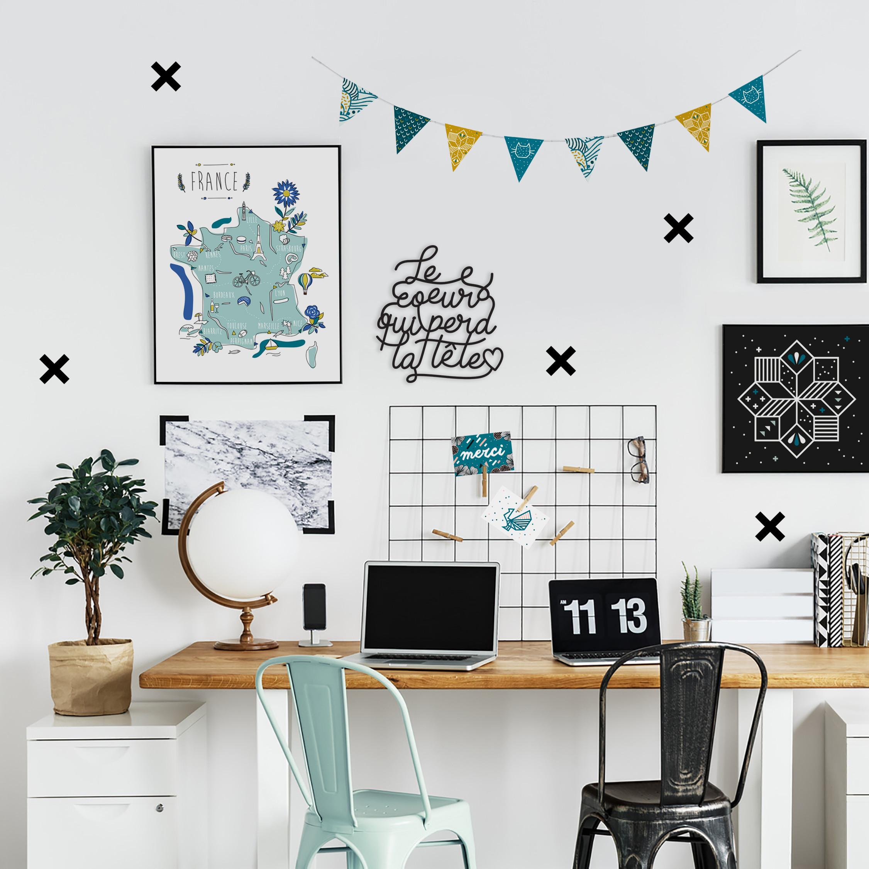 Stickers autocollant idée déco mur croix noir