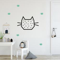 Idée déco mur chambre enfant chat menthe