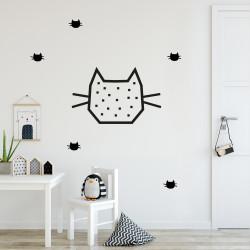 Idée déco mur chambre enfant chat noir