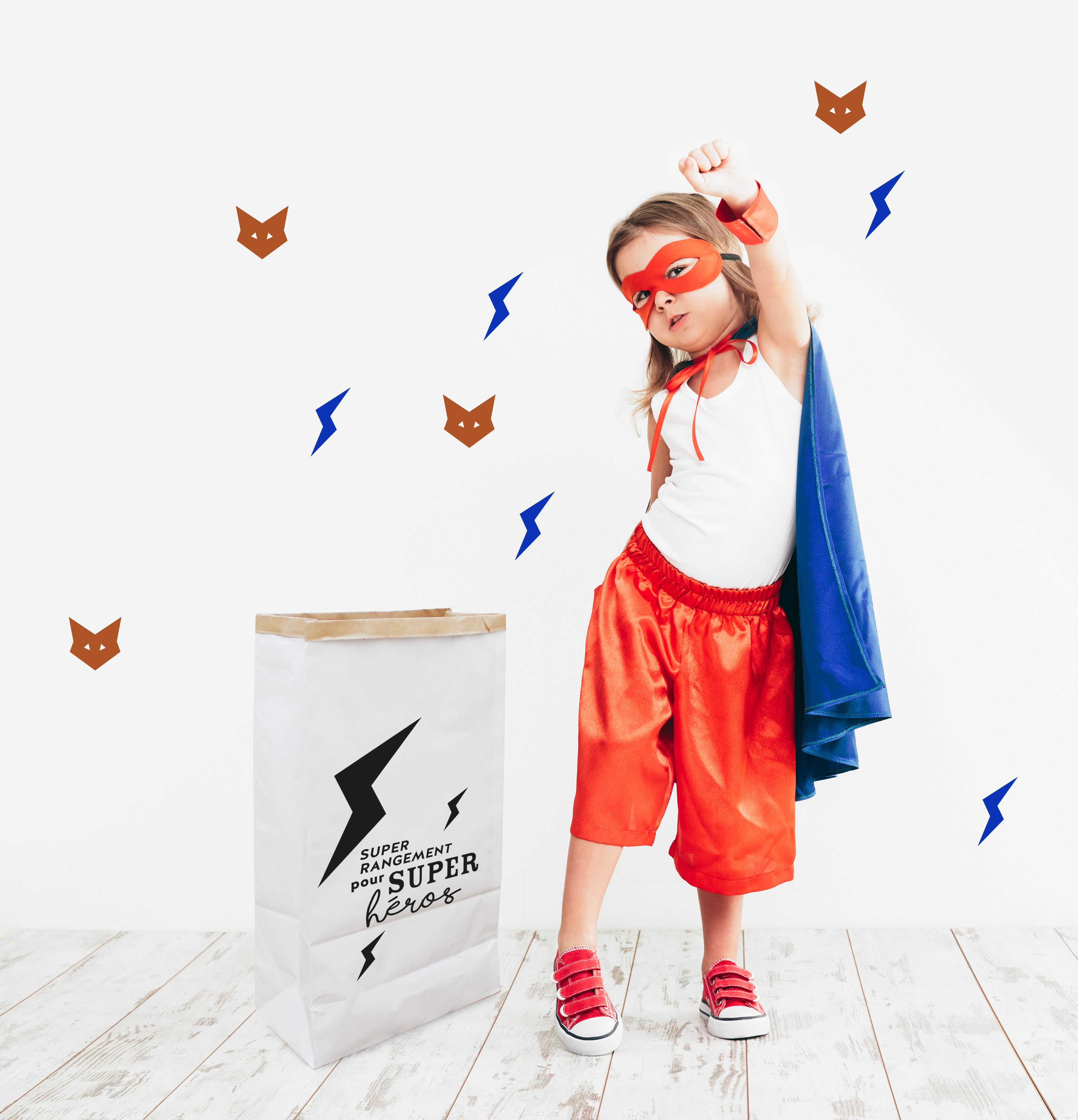 Idée stickers autocollant mur chambre enfant  animaux renard cuivre