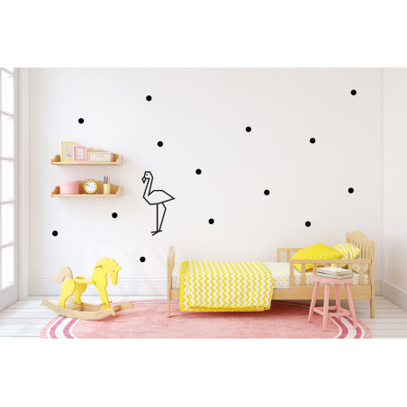 décoration murale stickers repositionnables chambre enfant pois bleu noir