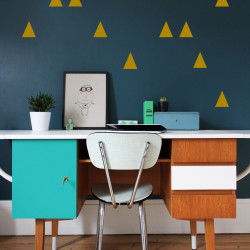 Déco mur autocollant triangles or
