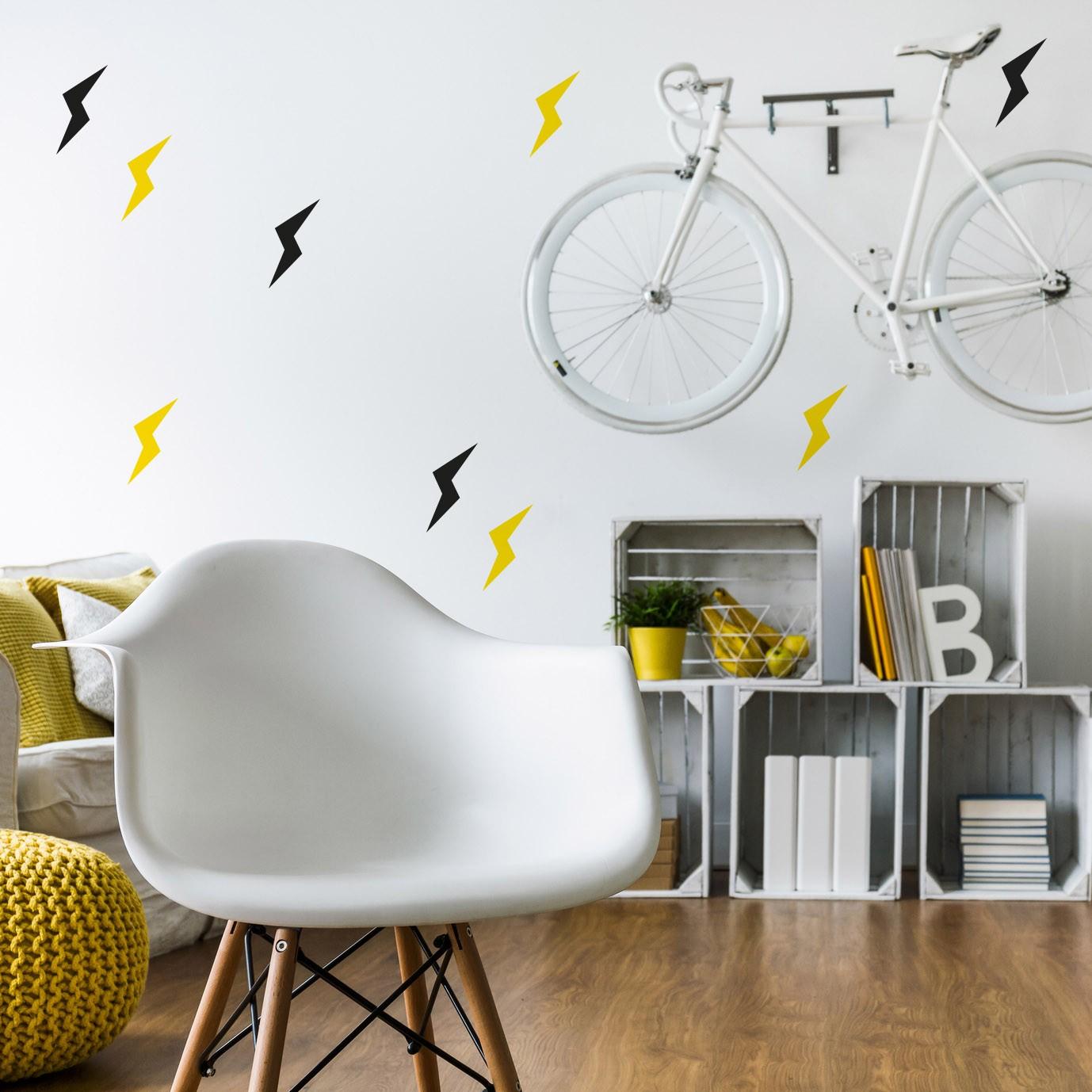 Idée déco mur sticker éclair noir et jaune