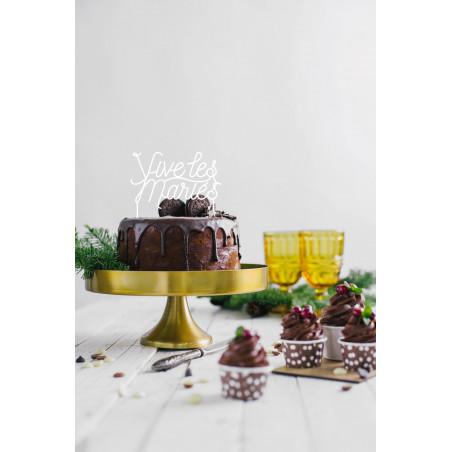 Cake topper mariage vive les mariés plexi blanc