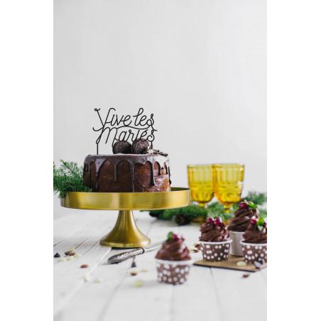 Cake topper mariage vive les mariés plexi noir