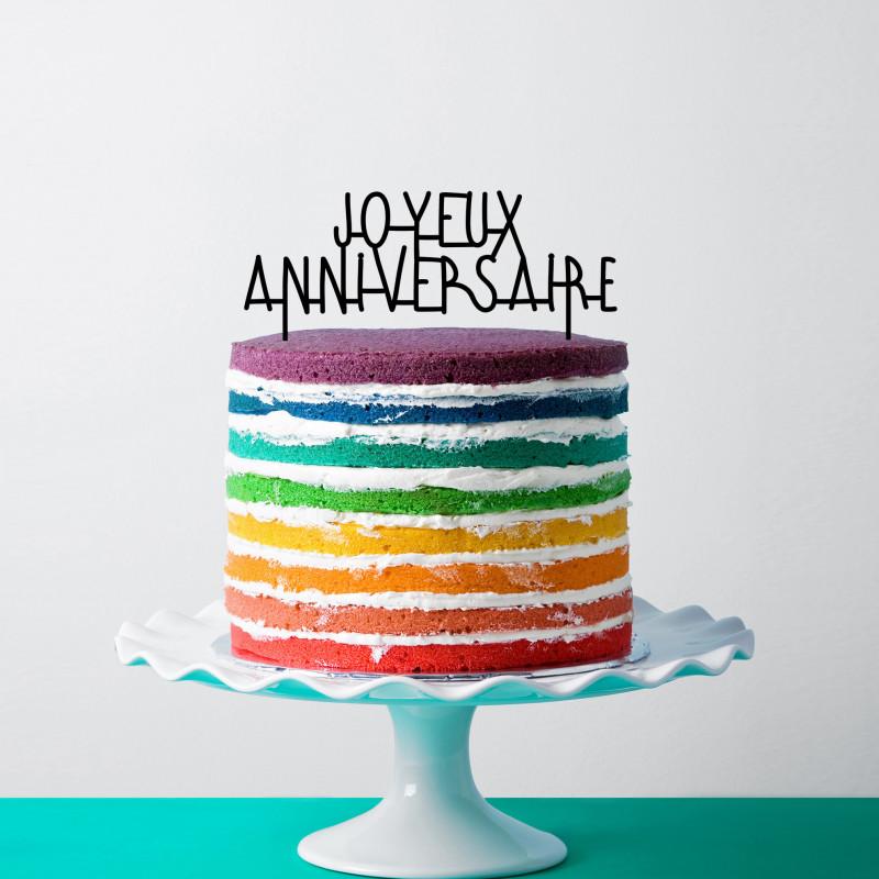 Cake Topper Pour Gateau En Plexiglas Joyeux Anniversaire Milieo