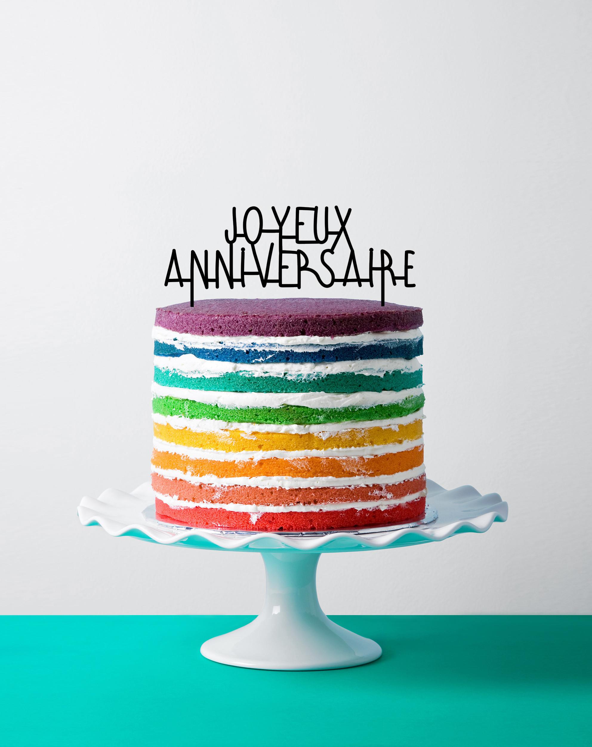 Cake topper joyeux anniversaire noir déco gâteau made in France
