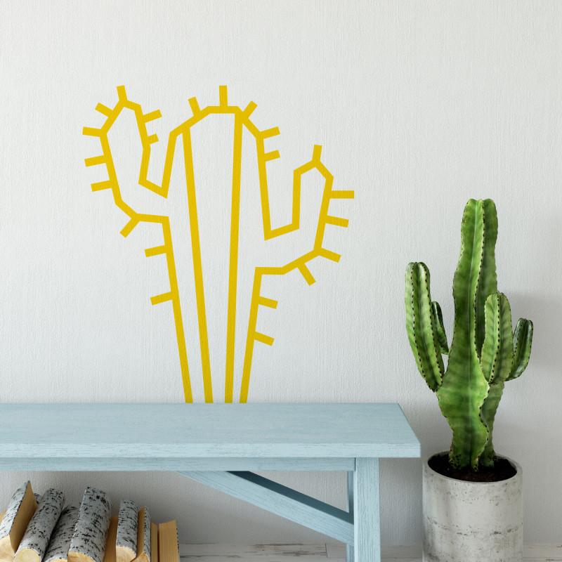 Deco DIY murale en masking tape cactus jaune maison salon