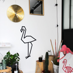 decoration mur tuto maison masking tape flamant rose noir