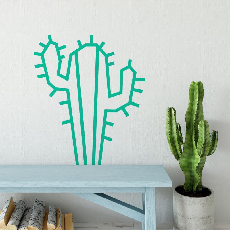 Deco DIY murale en masking tape cactus menthe maison salon
