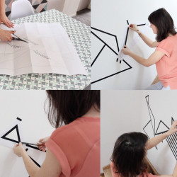 tuto diy decoration murale en masking tape motif triangle