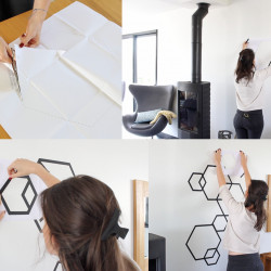 tuto diy deco masking tape mur hexagone noir
