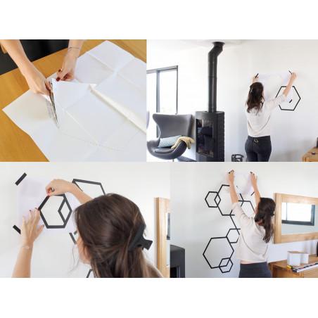 tuto diy deco masking tape mur hexagone noir