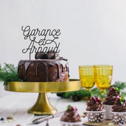 Cake topper personnalisé prénoms mariage