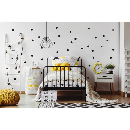 décoration murale chambre stickers pois repositionnable noir