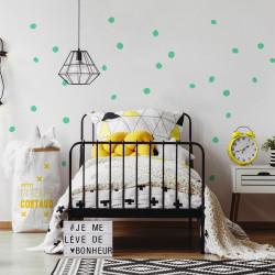 décoration murale chambre stickers pois repositionnable vert menthe