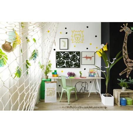décoration murale thème savane chambre enfant masking tape éléphant noir