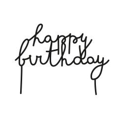 Cake topper happy birthday plexi noir