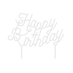 Cake topper happy birthday blanc made in France