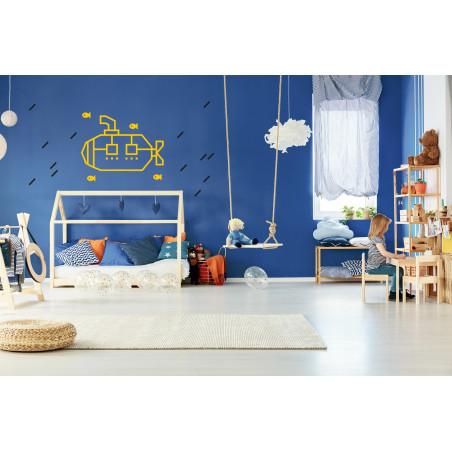decoration murale chambre enfant kit diy masking tape sous marin jaune