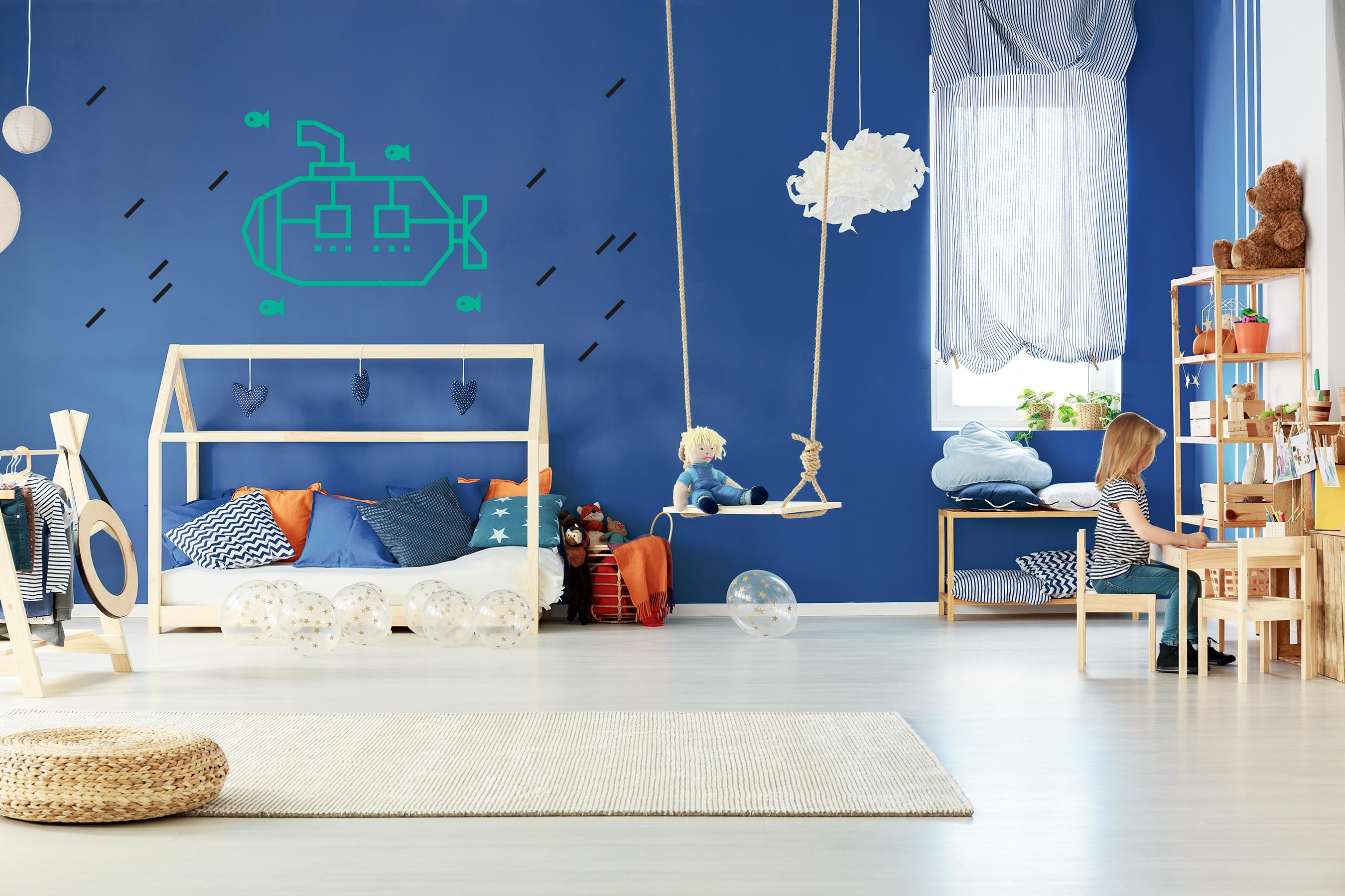 decoration murale chambre enfant kit diy masking tape sous marin menthe