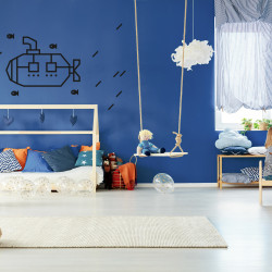 decoration murale chambre enfant kit diy masking tape sous marin noir