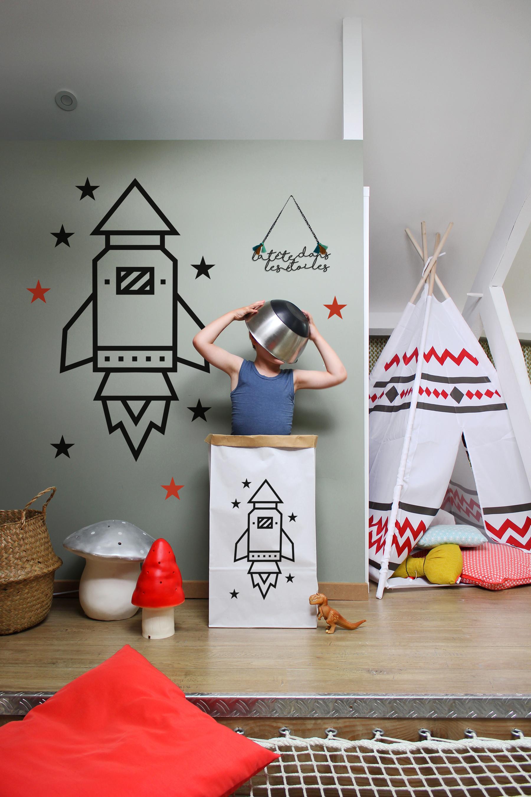 Masking tape kit DIY Fusee chambre enfant