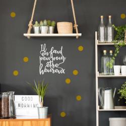 Lettrage déco à accrocher au mur il en faut peu pour être heureux plexi blanc