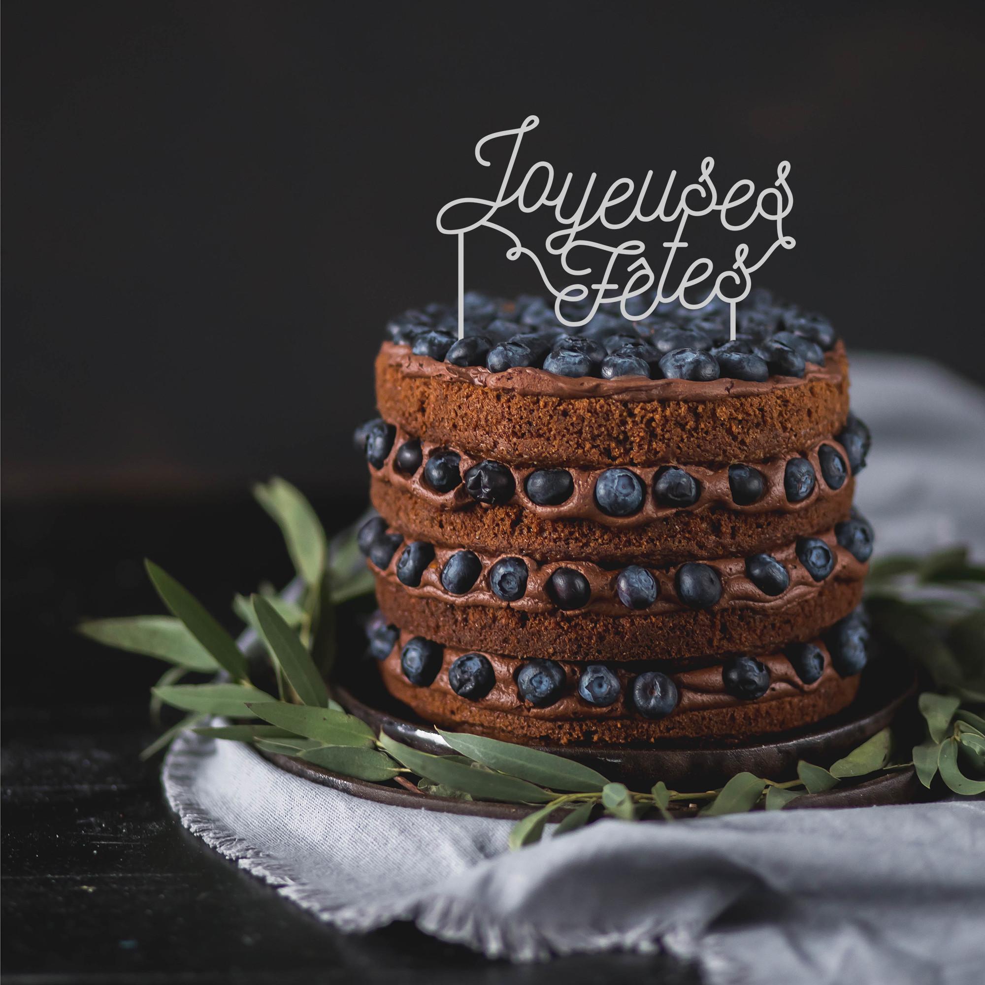 Cake topper déco gâteau Joyeuses fêtes plexi blanc
