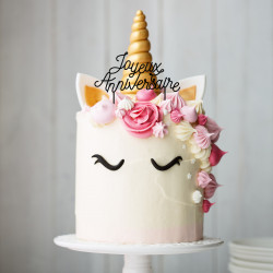 Cake topper plexi joyeux anniversaire made in France