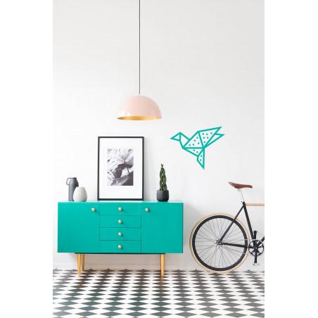 Kit creatif DIY masking tape oiseau decoration mur salon menthe pois