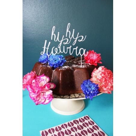 Cake topper pour gâteau de mariage hip hip hourra plexi blanc