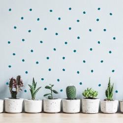 stickers adhésif décoration mur maison chambre petits pois irréguliers bleu canard