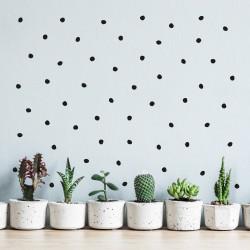 stickers adhésif decoration mur maison chambre petits pois irréguliers noir