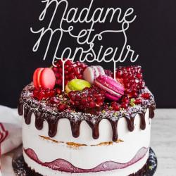 Cake topper pour gâteau de mariage madame et monsieur plexi blanc