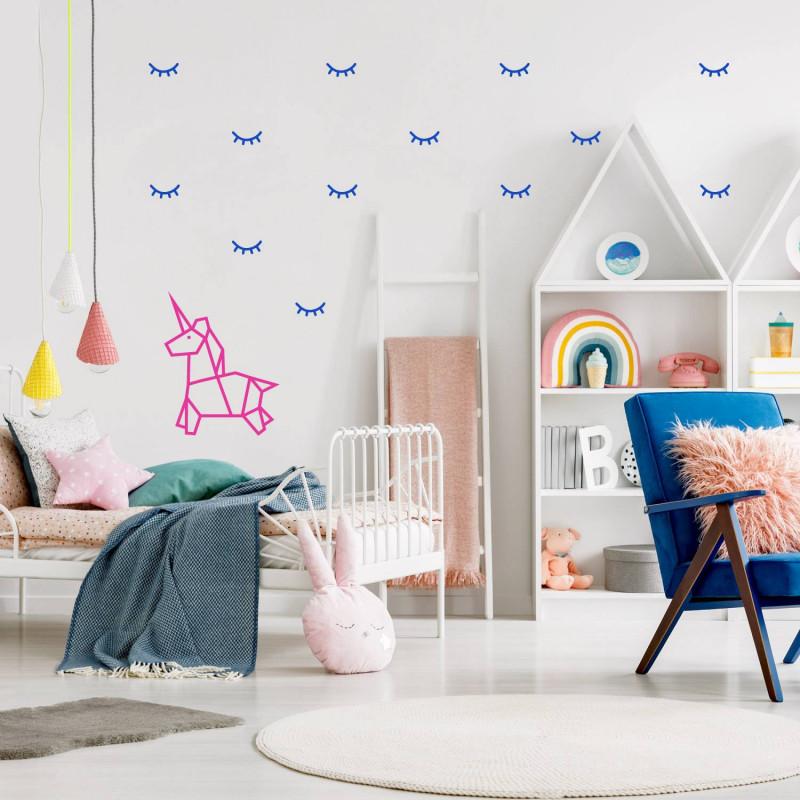 deco mural chambre enfant stickers yeux et licorne bleu bleu electrique