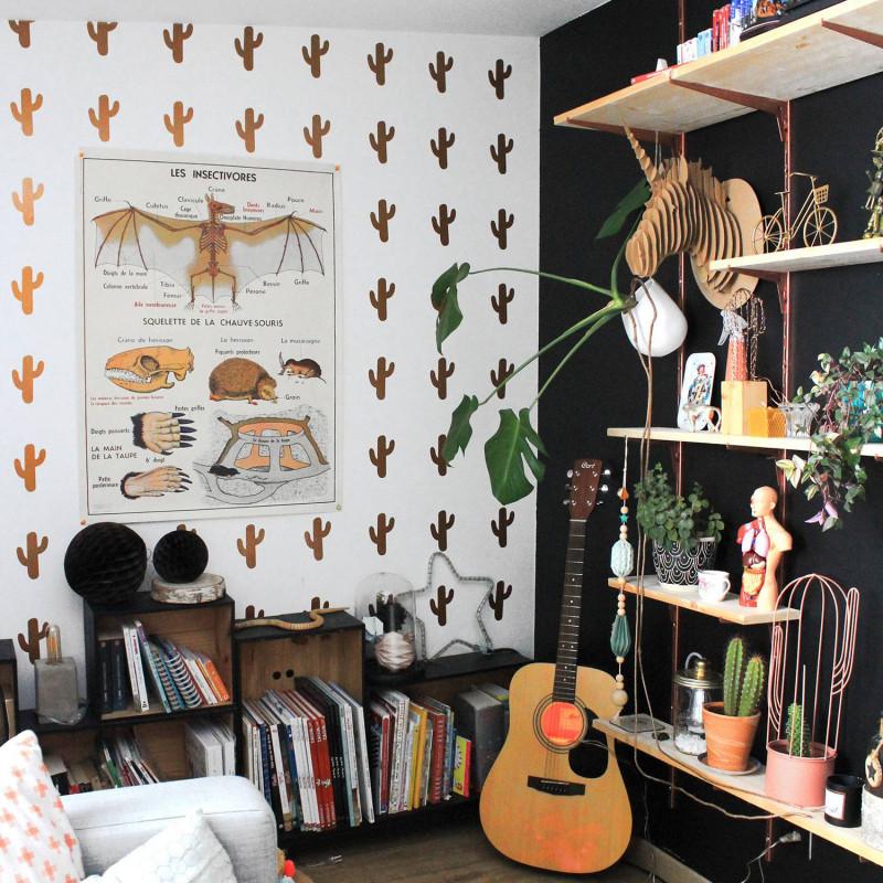 Stickers cactus cuivre déco mur salon