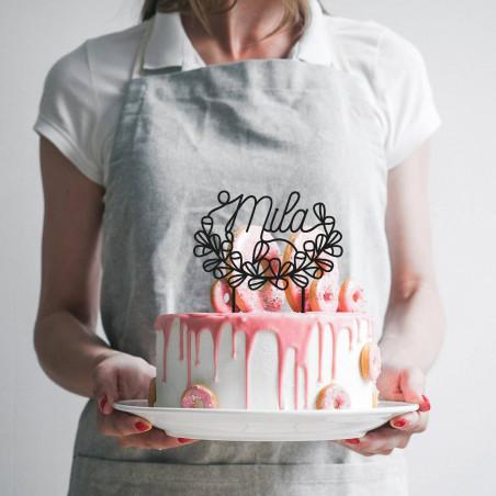 décoration gâteau anniversaire personnalisation prénom mot cake topper noir