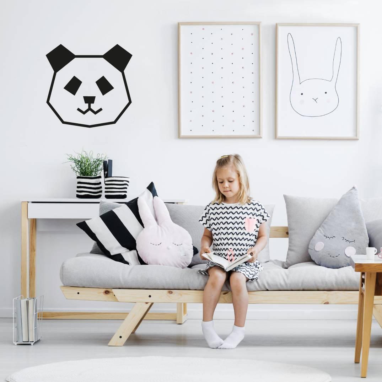 Deco DIY panda pour chambre enfant en masking tape noir
