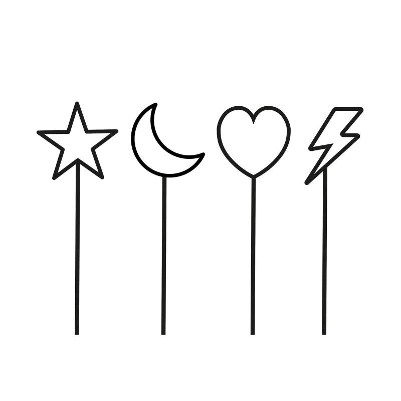 Lot 4 minis cake topper noir coeur, étoile, lune et éclair pour décoration de gâteau