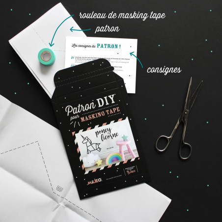 Packaging kit DIY pour masking tape poney licorne