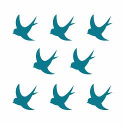 Stickers hirondelle déco bleu canard