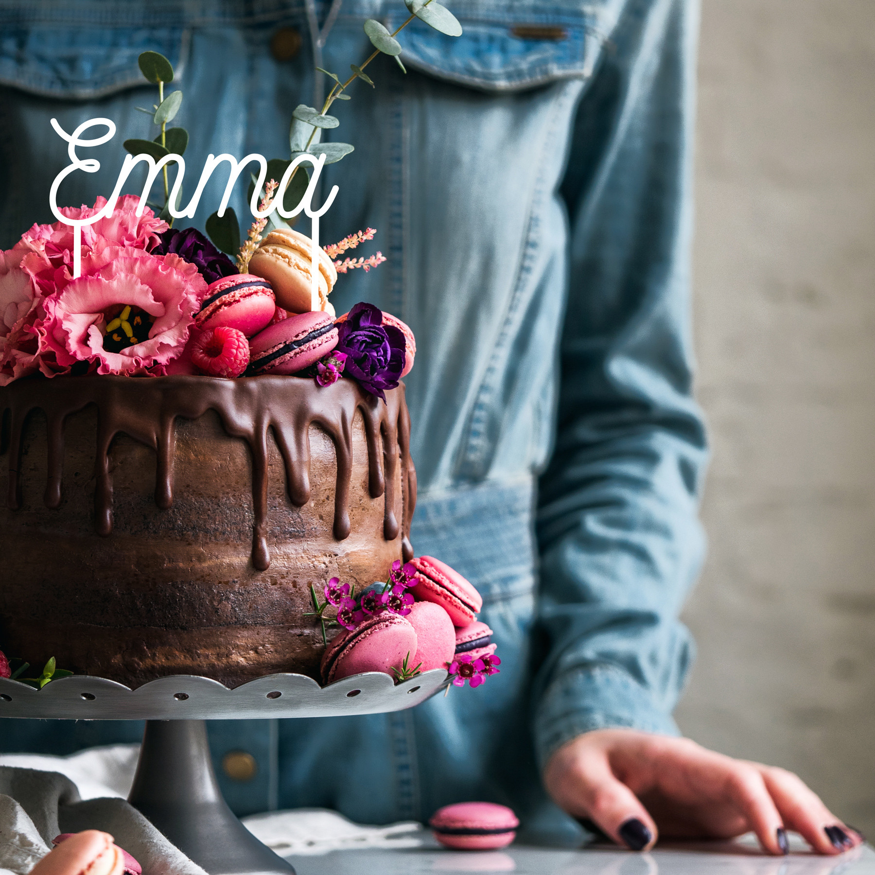 Cake topper prénom personnalisé déco gateau